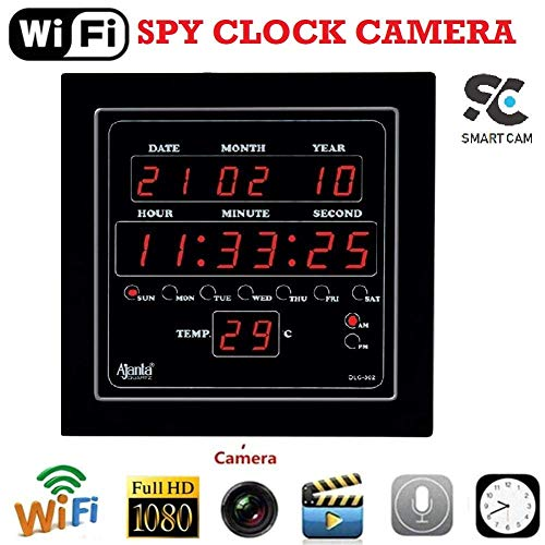 SmartCam Digital Spy Camera Ajanta Wall Clock Hidden with Motion Detection and Night Vision & SD Card Slot Full hd Mini spy Camera for Home