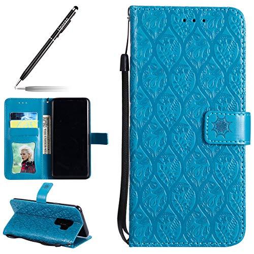 Uposao Hülle Kompatibel mit Samsung Galaxy S9 Plus Handyhülle, Prägung Blumen Muster Handytasche Flip Case Cover Schutzhülle Ledertasche Lederhülle Bookstyle Klapphülle Kartenfächer,Blau