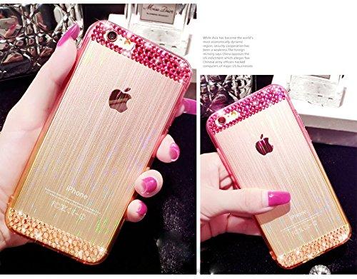 Coque iPhone 6 Plus/6S Plus , iNenk® Dégradé diamant mince de protection Doux TPU mobiles Ensembles téléphone de la 3D Silicone luxe Glitter Diamant Transparent arc-Cover-Violet Rose