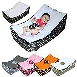 Monsieur Bébé  Transat pouf bébé avec 2 poches de rangement, poignée de transport et 2 assises - 5 coloris - Norme NF EN12790