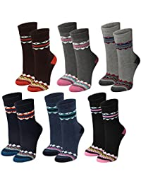 Lavazio® 6 Paar warme und kuschlige Damen Thermosocken mit Muster in 6 Farben
