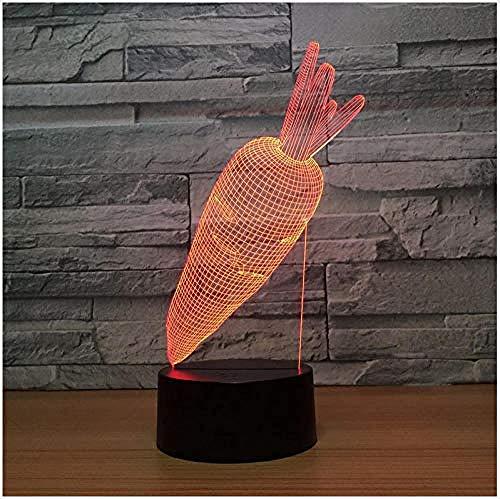 Nachtlicht Schöne Kaninchen Karotten Acryl 3D Nachtlicht Led 7 Farben Ändern Usb Kreative Schreibtischlampe Schlafzimmer Lichter Wohnkultur Kinder Geschenk