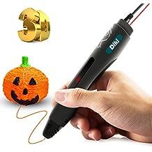 Pluma 3D DIKI Inteligente 3D Pen Impresión Estereoscópica 3D Pluma 3D Print Pen en 3D con Soporte de Seguridad Para el Dibujo 3D Garabatos Crear y Modelar Figuras con Pantalla LED + Adaptador De Corriente+ PLA Filamentos Gratuitos / el regalo creativo para niños y adultos