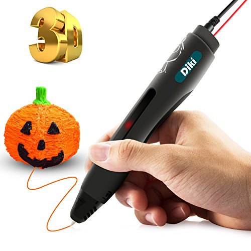 3D Stift, DIKI 3D Pen Intelligenter 3D Druckstift 3D Drucker Stift Stifte 3D Zeichnungen Dreidimensionalen Vierte 3D Print Pen 3D Druckstift Pen für Kind Erwachsene Kunstwerken Modellen Schwarz (Version IV)