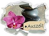 Auszeit Orchidee mit Zen Steinen , Papier 3D-Wandsticker Format: 62x45 cm Wanddekoration 3D-Wandaufkleber Wandtattoo