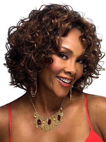 Meylee Perücken Brasilianische kurze locken Haarperücke für schwarze Frauen Cosplay Perücke + eine kostenlose Perückekappe , picture (Monster High Lila Haare)
