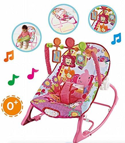 Star Ibaby Pink Zoo - Hamaca 3 en 1 con música y vibración