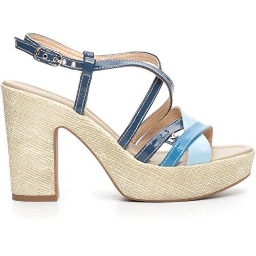 Nero Giardini donna sandali zeppa bianco o Blu (Celeste) P717652D scarpe estate 2017 Celeste