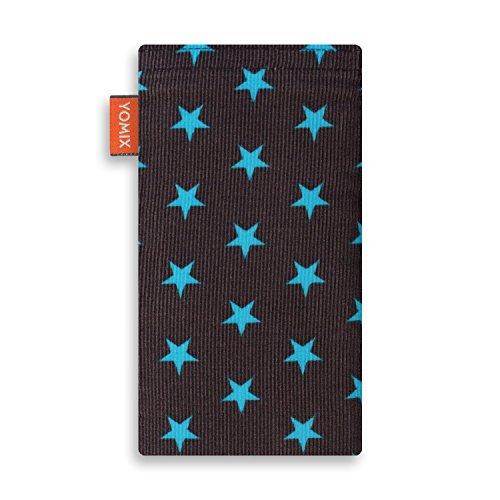YOMIX Handytasche | Tasche | Hülle MALIN für Apple iPhone 8 Plus aus Jeansstoff mit genialer Display-Reinigungsfunktion durch Microfaserinnenfutter STELLA