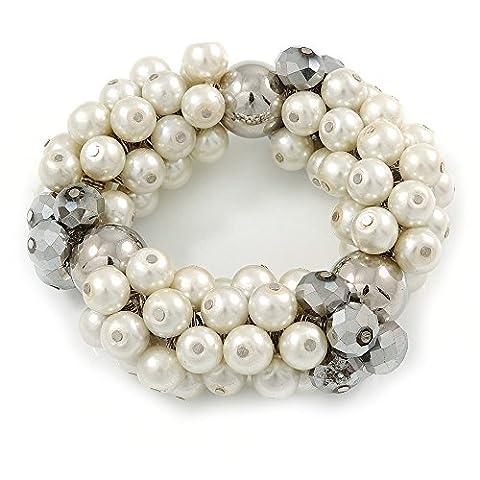 Chunky Cream Glass Pearl, Grey Crystal Bead Flex Bracelet - up to 18cm L