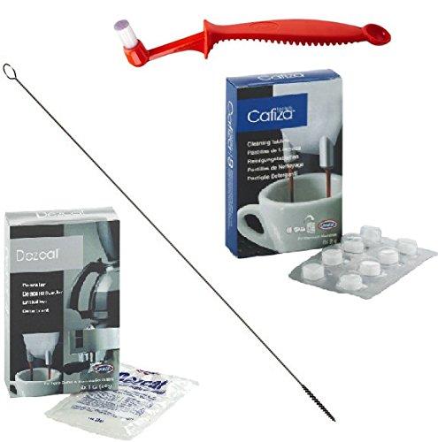 Reinigungs-Set für Kaffeevollautomaten: Tabletten, Entkalker, Brühgruppen- & Milchschlauchbürste