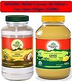 Organic India Coconut Oil 500ml & Organic Ghee Pure Cow Ghee - 445gms