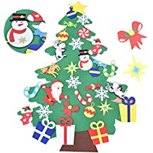 Awtlife Juego de árboles de Navidad de Fieltro DE 3.5 pies con Adornos 32 Piezas de