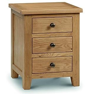 Julian Bowen Marlborough 3-Drawer Bedside Table, Waxed Oak