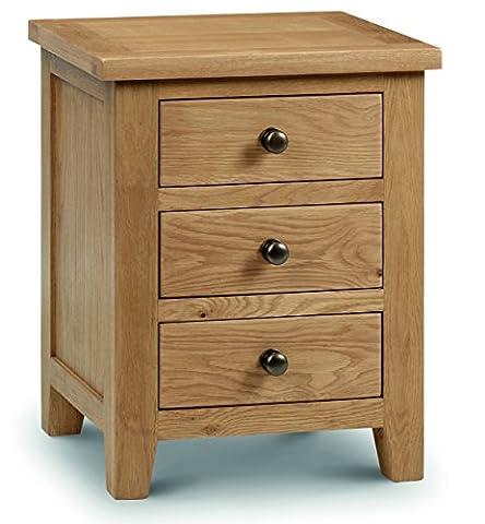 Julian Bowen Marlborough 3-Drawer Bedside Table, Waxed
