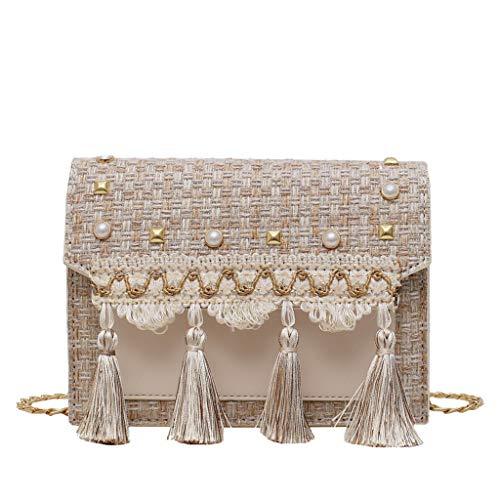 koperras Damen Retro Handtasche Tasche Nieten Eichel Ketten Softback Einfache Schultertasche Patchwork Taschen Gr. 20 cm (L) x6 cm (W) x14 cm (H), beige