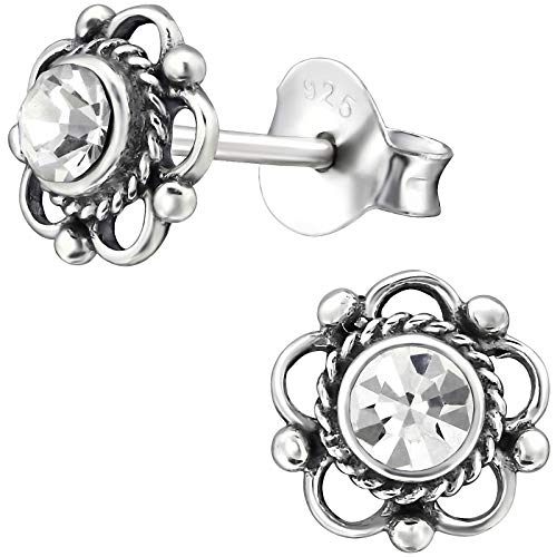 EYS JEWELRY Damen-Ohrstecker Blume Blüte 925 Sterling Silber oxidiert Swarovski Elements Glitzer Kristalle weiß 7 mm Damen-Ohrringe im Schmuck-Etui