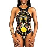 OverDose Frauen Afrikanischen Stil Floral Bandage einteilige Bikini Monokini Push Up gepolsterte BH Damen Bademode Badeanzug(Black,L)