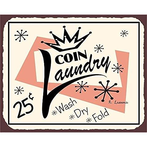 Coin lavanderia Vintage Metal Art biancheria pulizia latta metallo Tin Sign 7x 10segni in metallo vintage