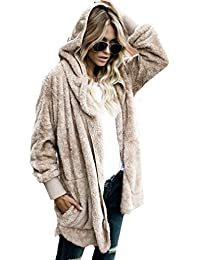 Parka cálida chaqueta mujer con capucha de piel sintética mujeres manga larga casual rebecas Tops Outwear Capa Cremallera Sudadera con Capucha Jacket Sportswear de Sannysis (L, Caqui)