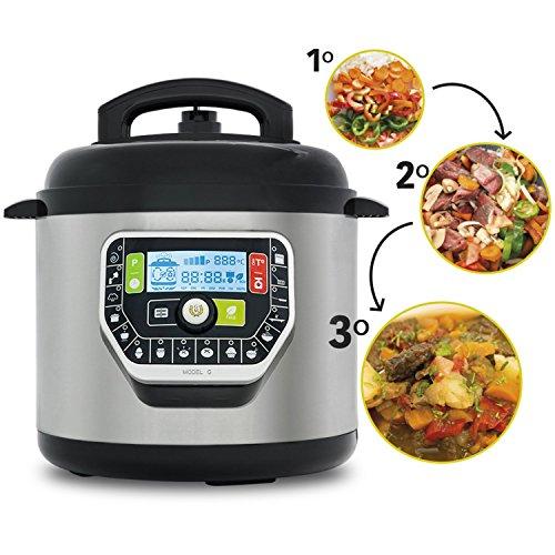 Ollas GM Modelo G Deluxe, Robot de Cocina programable multifunción, 1000 W, 90 Kpa, 19 menús, modo ECO, báscula integrada y capacidad de 6 litros.