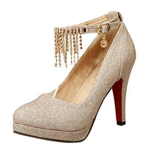 YE Damen Riemchen High Heels Plateau Geschlossen Pumps mit Schnalle 10cm Glitzer Strass Braut Hochzeit Schuhe Gold