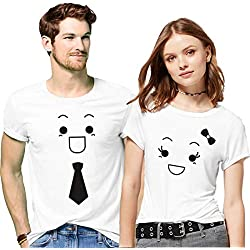 Hangout Hub Couple Tshirts Smiling Face Emoji Tie and Bow Printed White Color Men M Women S Valentine Gift Matching Tees for Men Women (Set of 2)