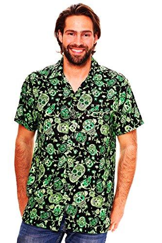 Funky Camisa Hawaiana, Skull, green, L