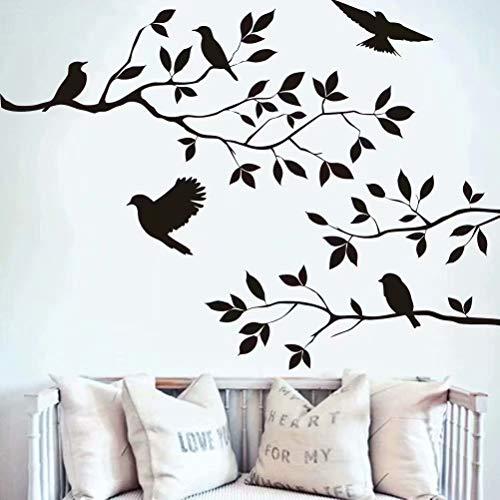 Schwarze Blumen Baum Vögel Wand Kunst Aufkleber Aufkleber für Home Room Decor Dekoration