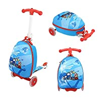 Funo Woo Luggage Suitcase with Scooter Kid Scooter with Luggage Backpack for Kids,Foldable Scooter for Child Adjustable Height Skate Aluminum Load Maximum 50kg