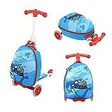 Funo Woo 2 in 1 Kinderkoffer + Scooter Klappbar Höhenverstellbar Roller und Kindergepäck Reisegepäck Trolley Reisekoffer