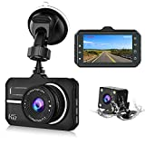 CHORTAU 【2019 New Version】 Dash Cam FHD 1080P 3 Inch 170° Wide Angle with Waterproof Rear Camera, Dashboard Camera with Reversing System, Super Night Version, WDR, Motion Detection, Parking Monitor