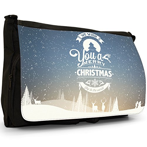 Neve Tipografia auguri di Natale Grande borsa a tracolla Messenger Tela Nera, scuola/Borsa Per Laptop We Wish You A Merry Christmas