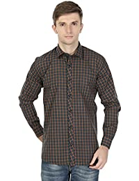 eoigE™ Green & Orange Full Sleeves Men's Shirt
