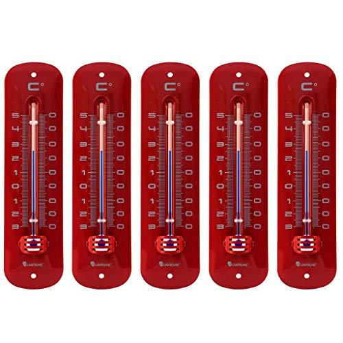 Lantelme 7234 Set Metallthermometer rot 5 Stück - Analog Metall Thermometer mit Einem...