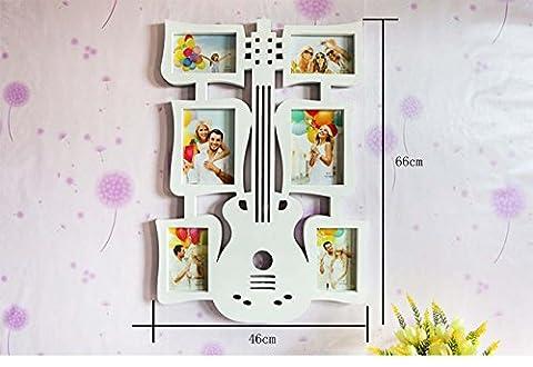 Populaire Cadeau Big Guitare Creative Cadre mural 15,2cm siamois Combinaison Cadre personnalité Art Cadre photo album, blanc, Blanc
