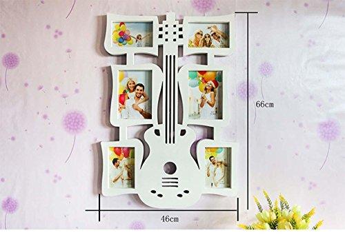 Preisvergleich Produktbild Beliebtes Geschenk Big Gitarre Creative Rahmen Wand 15,2cm Siamesische Kombination Bilderrahmen Persönlichkeit Art Bilderrahmen Album, weiß, Weiß