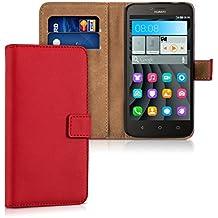 kwmobile Custodia portafoglio per Huawei Y625 - Cover a libro in simil pelle Flip Case con porta carte funzione appoggio rosso