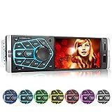 XOMAX XM-V418 Autoradio con Schermo da 4.1' / 10 cm I Bluetooth | USB, SD, AUX | RDS | Collegamenti per telecamera per la visione posteriore e telecomando al volante I 7 Colori | 1 DIN