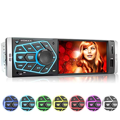 XOMAX XM-V418 Car Radio with 4.1 Screen / 10 cm I Bluetooth | USB, SD, AUX | RDS | Connections for Reverse Camera and Steering Wheel Remote I 7 Lighting colors | 1 DIN