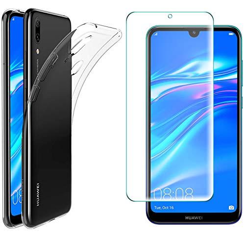 AOBOK [2 Stück, Hülle für Huawei Y7 2019, Panzerglas für Huawei Y7 2019, Transparent Weiche Silikon [ Ultradünnen ] Flexibel Bumper Handyhülle TPU Kratzfest Handy Schutzhülle