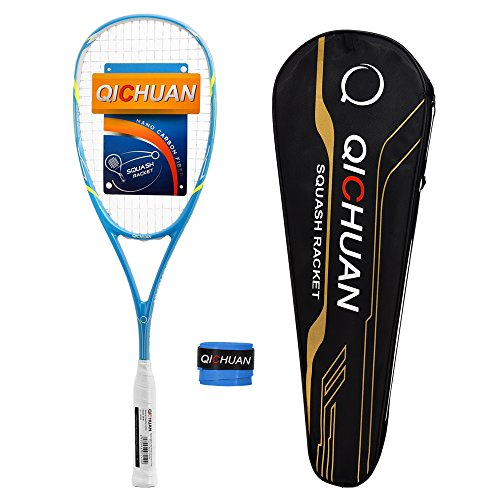 QICHUAN Squash Schläger Racket Set 100% Nano Graphit Carbon 125g mit Tasche & Griffband Erwachsene (Blau)