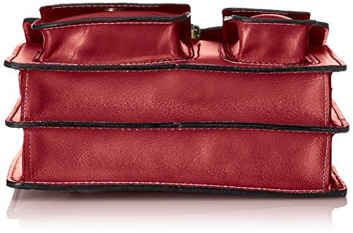 Man Tasche von Arbeit, Organizer Italienisch, 100% echtes Leder Made in Italy Rot (Rosso)
