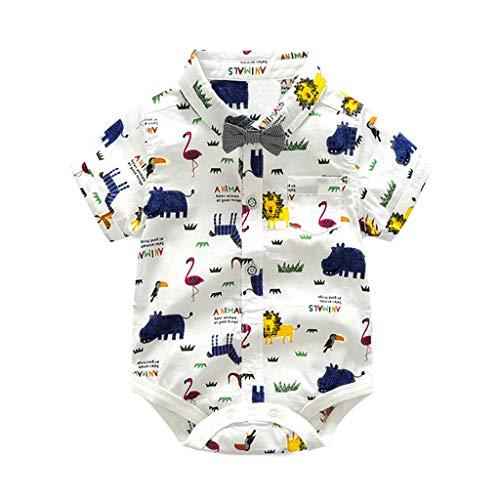 JUTOO 2 Stücke Set Infant Baby Jungen Gentleman Fliege Strampler + Shorts Overall Outfits Kleidung (Weiß,90)