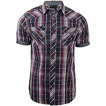 Dissident - Camisa casual - Cuadrados - Clásico - Manga corta - para hombre
