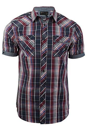 Herren kariertes Hemd von Dissident `Valencia`kurzärmlig (Rio Red) XL (Red Collared Shirt Männer)
