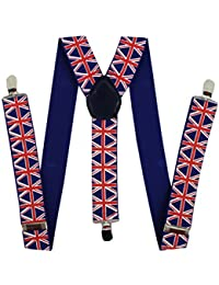 Pair Fashion Braces [suspenders] Union Jack design. 2.5cm wide Adjustable with metal adjusters and snap fasteners