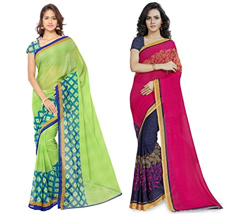 Anand Sarees Faux Georgette Multi Color Printed Combo Saree With Blouse Piece...
