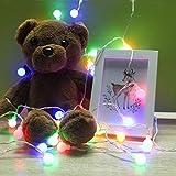 Yukio Homefun - Lichtkugel LED Lichterkette bunt mit Sternen, 2m/3m/4m, 10/20/30 Lichtkugel, Batterie betrieben, geeignet für Garten/Wohnzimmer/Außen/Partybeleuchtung/Weihnachten