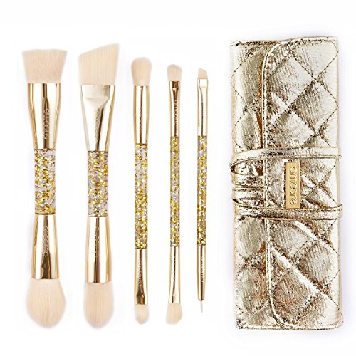 DAMENGXIANG Make-Up-Pinsel Set Beauty Kit Anfänger Make-Up-Pinsel Set Lidschatten Pinsel Augenbrauen Pinsel Make-Up Tool. 5 Crystal Schaft Doppel Kopf Blond Blond (Hervorhebung Blonde)